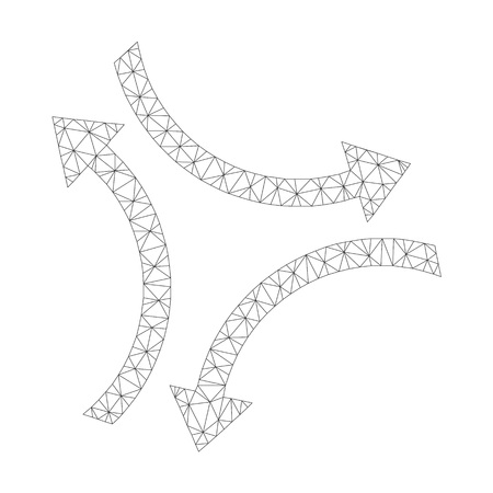 Mesh vector exchange arrows icon on a white background. Mesh carcass grey exchange arrows image in lowpoly style with structured triangles, nodes and linear items.
