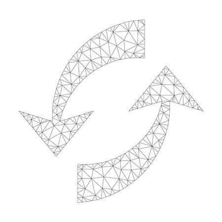 Icône de flèches d'échange de vecteur polygonale sur fond blanc. Image de flèches d'échange gris foncé en treillis filaire dans un style lowpoly avec des triangles, des points et des éléments linéaires organisés. Vecteurs