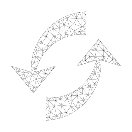 Polygonal vector exchange arrows icon on a white background. Mesh wireframe dark gray exchange arrows image in lowpoly style with organized triangles, dots and linear items.