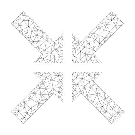 Polygonal vector pressure arrows icon on a white background. Polygonal wireframe grey pressure arrows image in lowpoly style with organized triangles, nodes and linear items. Ilustração