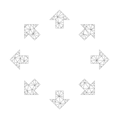 Polygonal vector radial arrows icon on a white background. Polygonal wireframe gray radial arrows image in lowpoly style with combined triangles, nodes and lines. Çizim
