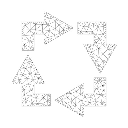 Mesh vector recycle icon on a white background. Polygonal carcass dark gray recycle image in low poly style with connected triangles, dots and lines. Vettoriali