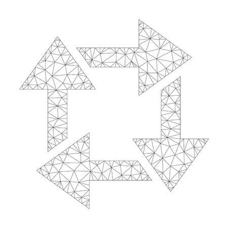 Polygonal vector recycle icon on a white background. Mesh wireframe gray recycle image in low poly style with organized triangles, points and linear items.