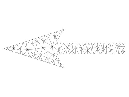Polygonal vector sharp arrow left icon on a white background. Mesh wireframe gray sharp arrow left image in lowpoly style with organized triangles, nodes and lines. Illustration