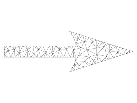 Polygonal vector sharp arrow right icon on a white background. Polygonal wireframe gray sharp arrow right image in lowpoly style with combined triangles, nodes and lines.