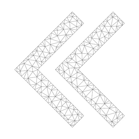 Polygonal vector shift left icon on a white background. Mesh carcass gray shift left image in low poly style with combined triangles, nodes and lines.
