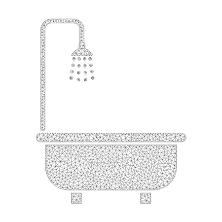 Polygonal vector shower bath icon on a white background. Polygonal carcass dark gray shower bath image in lowpoly style with structured triangles, nodes and lines.