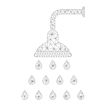 Mesh vector shower icon on a white background. Mesh carcass grey shower image in lowpoly style with structured triangles, dots and lines. Vettoriali