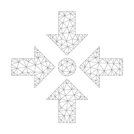 Icône de flèches de rétrécissement vectoriel polygonal sur fond blanc. Image de flèches de rétrécissement gris foncé de la carcasse en maille dans un style lowpoly avec des triangles, des points et des lignes organisés.