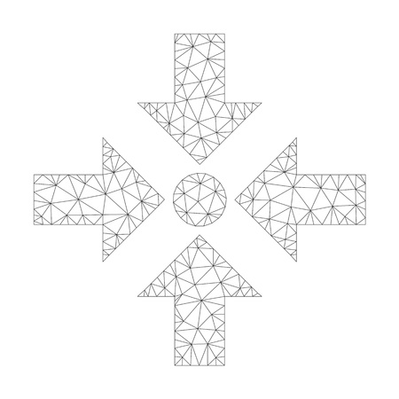 Polygonal vector shrink arrows icon on a white background. Mesh carcass dark gray shrink arrows image in lowpoly style with organized triangles, dots and lines.