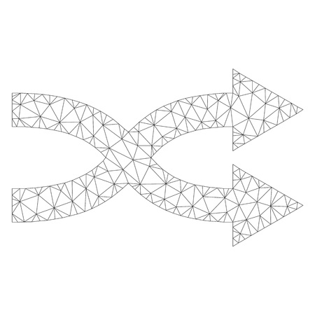 Mesh vector shuffle arrows right icon on a white background. Polygonal wireframe dark gray shuffle arrows right image in lowpoly style with structured triangles, dots and lines.