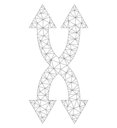 Mesh vector shuffle arrows vertical icon on a white background. Polygonal wireframe gray shuffle arrows vertical image in low poly style with combined triangles, dots and lines.