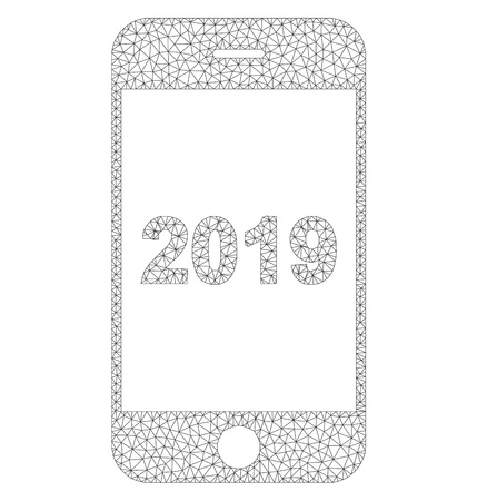 Polygonal vector smartphone 2019 icon on a white background. Polygonal wireframe grey smartphone 2019 image in lowpoly style with combined triangles, dots and linear items. Vettoriali