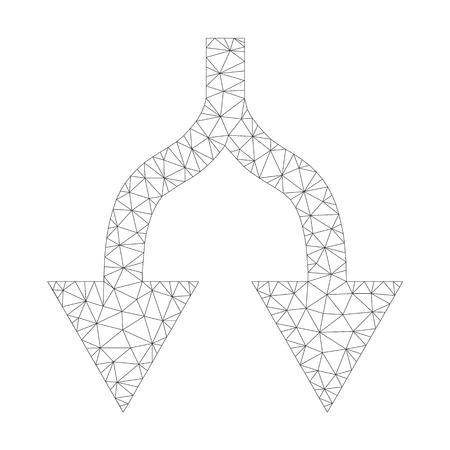 Mesh vector split arrows down icon on a white background. Mesh carcass gray split arrows down image in lowpoly style with structured triangles, points and lines.