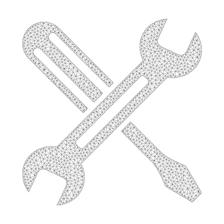 Mesh vector tuning icon on a white background. Polygonal carcass gray tuning image in lowpoly style with connected triangles, nodes and linear items.