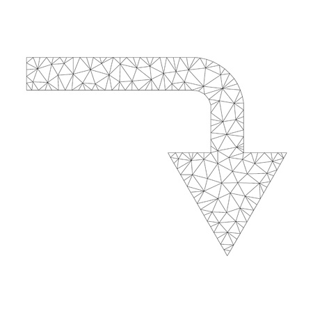 Polygonal vector turn down icon on a white background. Mesh wireframe grey turn down image in lowpoly style with structured triangles, dots and lines.
