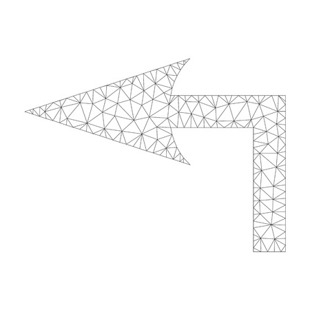 Mesh vector turn left icon on a white background. Mesh carcass grey turn left image in lowpoly style with structured triangles, nodes and lines.