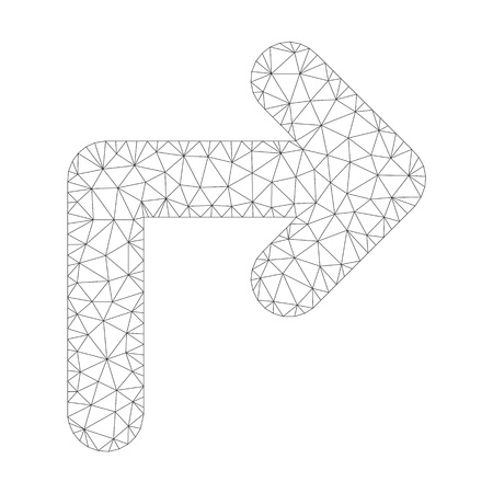 Polygonal vector turn right icon on a white background. Polygonal wireframe grey turn right image in low poly style with combined triangles, points and linear items. Illustration