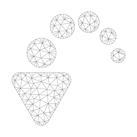 Mesh vector undo icon on a white background. Mesh wireframe gray undo image in lowpoly style with connected triangles, dots and lines.