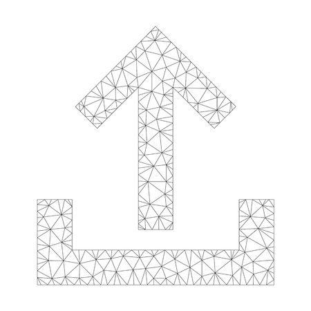 Mesh vector upload icon on a white background. Mesh wireframe dark gray upload image in low poly style with connected triangles, nodes and lines. Vettoriali