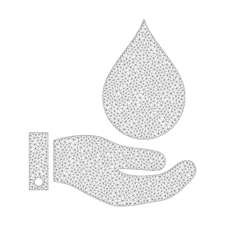 Mesh vector water service icon on a white background. Mesh carcass gray water service image in low poly style with structured triangles, points and lines.