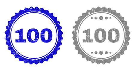 100 stamp seals with distress texture in blue and grey colors isolated on white background. Vector rubber watermark of 100 title inside round rosette. Stamp seals with grunge styles. Illustration