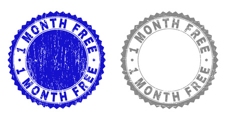 1 MONTH FREE stamp seals with grunge texture in blue and grey colors isolated on white background. Vector rubber watermark of 1 MONTH FREE tag inside round rosette. Stamp seals with grunge textures. Banque d'images - 125573312