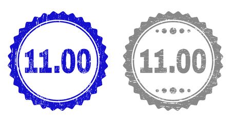 11.00 stamp seals with grunge texture in blue and grey colors isolated on white background. Vector rubber overlay of 11.00 caption inside round rosette. Stamp seals with scratched textures.