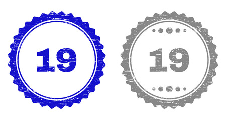19 stamp seals with distress texture in blue and gray colors isolated on white background. Vector rubber watermark of 19 tag inside round rosette. Stamp seals with unclean styles. Illustration