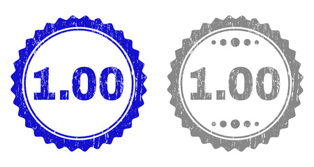 1.00 stamp seals with distress texture in blue and gray colors isolated on white background. Vector rubber watermark of 1.00 title inside round rosette. Stamp seals with dirty styles. Vectores