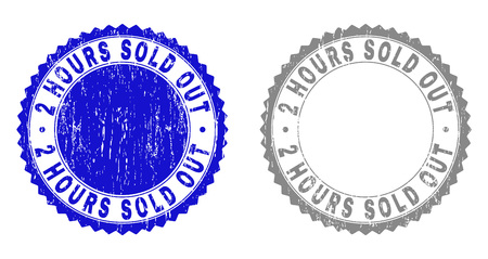 2 HOURS SOLD OUT stamp seals with distress texture in blue and gray colors isolated on white background. Vector rubber overlay of 2 HOURS SOLD OUT title inside round rosette. Illustration