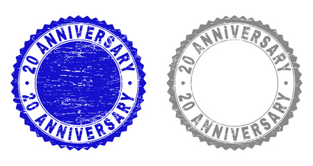 20 ANNIVERSARY stamp seals with distress texture in blue and gray colors isolated on white background. Vector rubber overlay of 20 ANNIVERSARY title inside round rosette.