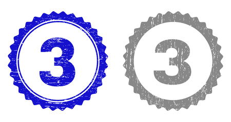 3 stamp seals with grunge texture in blue and grey colors isolated on white background. Vector rubber overlay of 3 text inside round rosette. Stamp seals with scratched textures.