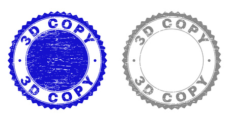 3D COPY stamp seals with grunge texture in blue and grey colors isolated on white background. Vector rubber imprint of 3D COPY text inside round rosette. Stamp seals with grunge styles.