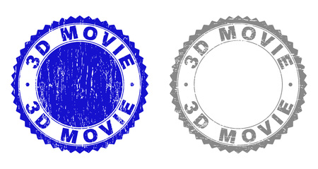 3D MOVIE stamp seals with distress texture in blue and gray colors isolated on white background. Vector rubber watermark of 3D MOVIE caption inside round rosette. Stamp seals with corroded styles.