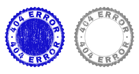 404 ERROR stamp seals with grunge texture in blue and gray colors isolated on white background. Vector rubber overlay of 404 ERROR label inside round rosette. Stamp seals with unclean textures.
