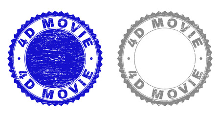 4D MOVIE stamp seals with grunge texture in blue and grey colors isolated on white background. Vector rubber watermark of 4D MOVIE text inside round rosette. Stamp seals with grunge styles. Illustration