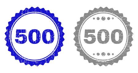 500 stamp seals with grunge texture in blue and grey colors isolated on white background. Vector rubber imprint of 500 text inside round rosette. Stamp seals with unclean styles.