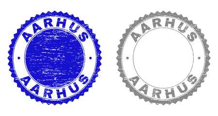 AARHUS stamp seals with distress texture in blue and gray colors isolated on white background. Vector rubber imprint of AARHUS tag inside round rosette. Stamp seals with scratched styles.