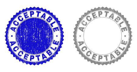ACCEPTABLE stamp seals with grunge texture in blue and grey colors isolated on white background. Vector rubber watermark of ACCEPTABLE tag inside round rosette. Stamp seals with retro textures.