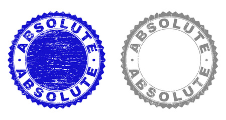 ABSOLUTE stamp seals with distress texture in blue and gray colors isolated on white background. Vector rubber overlay of ABSOLUTE label inside round rosette. Stamp seals with unclean textures.