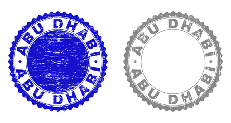 ABU DHABI stamp seals with distress texture in blue and grey colors isolated on white background. Vector rubber imprint of ABU DHABI tag inside round rosette. Stamp seals with corroded textures.