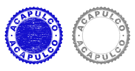 ACAPULCO stamp seals with grunge texture in blue and gray colors isolated on white background. Vector rubber watermark of ACAPULCO label inside round rosette. Stamp seals with dirty styles.