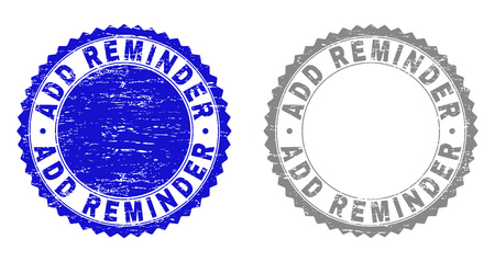 ADD REMINDER stamp seals with grunge texture in blue and gray colors isolated on white background. Vector rubber watermark of ADD REMINDER text inside round rosette. Stamp seals with retro textures.