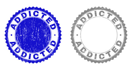 ADDICTED stamp seals with grunge texture in blue and grey colors isolated on white background. Vector rubber imitation of ADDICTED tag inside round rosette. Stamp seals with grunge textures. Illustration