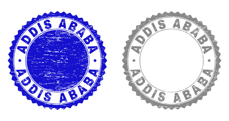 ADDIS ABABA stamp seals with grunge texture in blue and gray colors isolated on white background. Vector rubber overlay of ADDIS ABABA caption inside round rosette. Stamp seals with dirty textures.