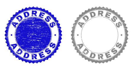 ADDRESS stamp seals with distress texture in blue and gray colors isolated on white background. Vector rubber imprint of ADDRESS tag inside round rosette. Stamp seals with dust styles.