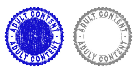 ADULT CONTENT stamp seals with grunge texture in blue and grey colors isolated on white background. Vector rubber imprint of ADULT CONTENT text inside round rosette. Stamp seals with grunge styles.