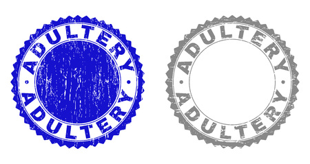 ADULTERY stamp seals with grunge texture in blue and gray colors isolated on white background. Vector rubber imprint of ADULTERY label inside round rosette. Stamp seals with unclean styles.
