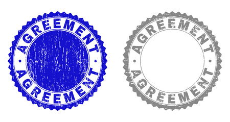 AGREEMENT stamp seals with distress texture in blue and grey colors isolated on white background. Vector rubber watermark of AGREEMENT title inside round rosette. Stamp seals with dust styles.